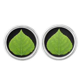 Green Aspen Leaf #11 Cuff Links