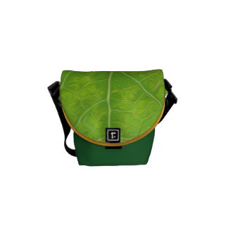 Green Aspen Leaf #11 Messenger Bags