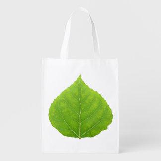 Green Aspen Leaf #11 Reusable Grocery Bag