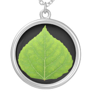 Green Aspen Leaf #11 Silver Plated Necklace