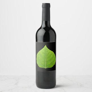 Green Aspen Leaf #11 Wine Label