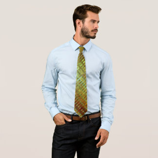 Green Asymmetrical Striped Geometric Retro Tie