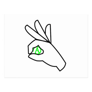 Green Atheist Hand Symbol Post Card