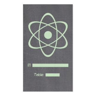Green Atomic Chalkboard Place Card Business Card Template