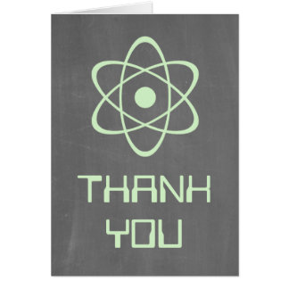 Green Atomic Chalkboard Thank You Card