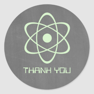 Green Atomic Chalkboard Thank You Stickers