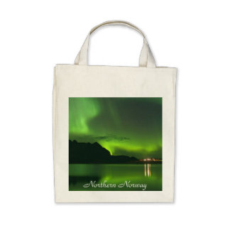 Green Aurora Northern Norway-Organic Grocery Tote Tote Bags