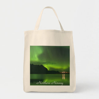 Green Aurora Northern Norway-Organic Grocery Tote Grocery Tote Bag