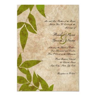 Green Autumn Leaves Vintage Wedding Invitations