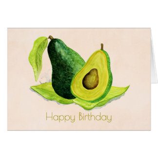 Green Avocado Fruit in Watercolors Happy Birthday Greeting Card