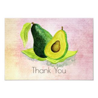 Green Avocado Fruit in Watercolors Thank You Card