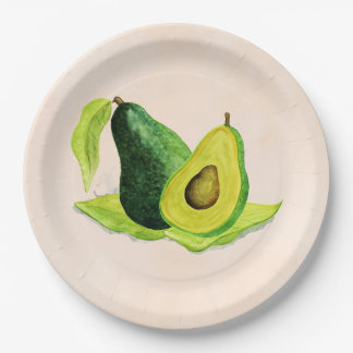 Green Avocado Still Life Fruit in Watercolors 9 Inch Paper Plate