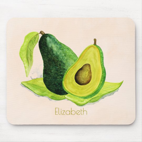 Green Avocado Still Life Fruit in Watercolors Mouse