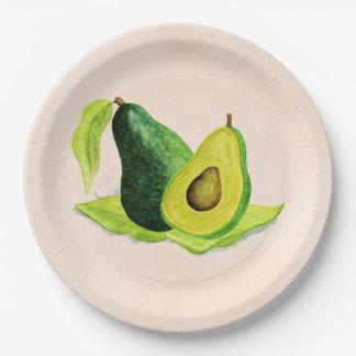 Green Avocado Still Life Fruit in Watercolors Paper Plate