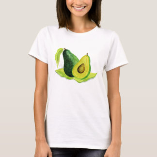 Green Avocado Still Life Fruit in Watercolors T-Shirt