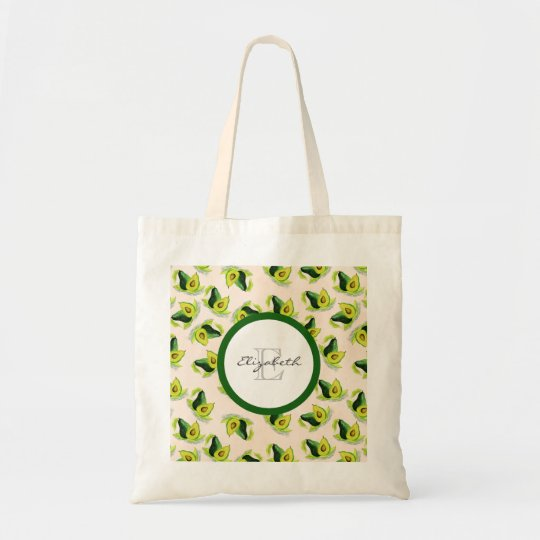 Green Avocados Watercolor Pattern Monogram Tote Bag