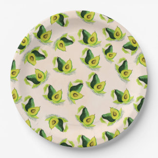 Green Avocados Watercolor Pattern Paper Plate