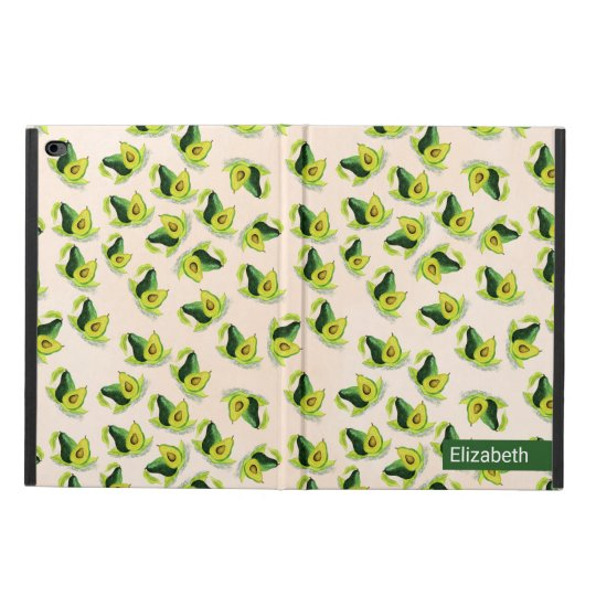 Green Avocados Watercolor Pattern Personalised Powis iPad Air
