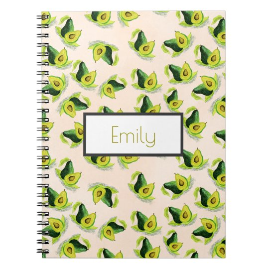 Green Avocados Watercolor Pattern Personalised Spiral Notebook