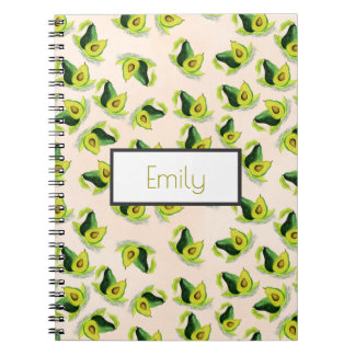 Green Avocados Watercolor Pattern Personalized Notebook