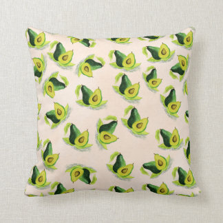Green Avocados Watercolor Pattern Throw Pillow