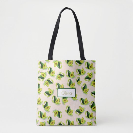 Green Avocados Watercolor Pattern Tote Bag