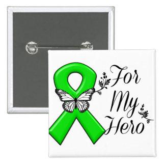 Green Awareness Ribbon For My Hero 15 Cm Square Badge