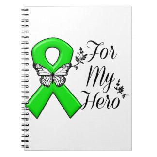 Green Awareness Ribbon For My Hero Spiral Notebooks