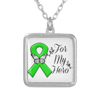 Green Awareness Ribbon For My Hero Square Pendant Necklace
