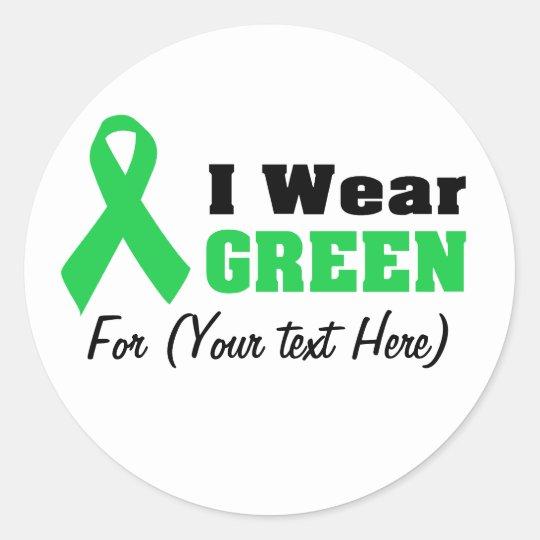 Green Awareness Ribbon Round Sticker