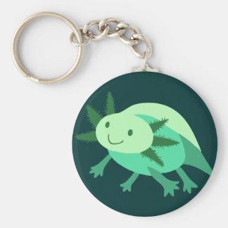 Green Axolotl Basic Round Button Key Ring