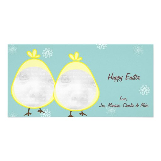 Green Baby Chick Easter Photo Cards