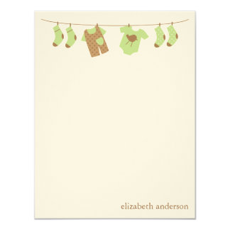 Green Baby Clothesline Flat Thank You Notes 11 Cm X 14 Cm Invitation Card