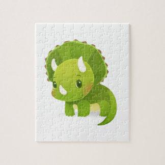 green baby cute dinosaur cartoon jigsaw puzzle