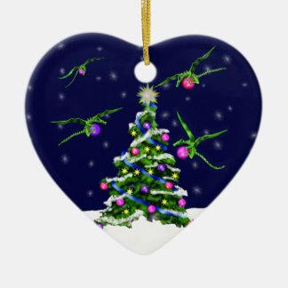 Green Baby Dragons Encircle a Christmas Tree Christmas Ornament