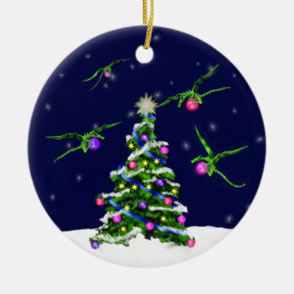 Green Baby Dragons Encircle a Christmas Tree Christmas Ornament