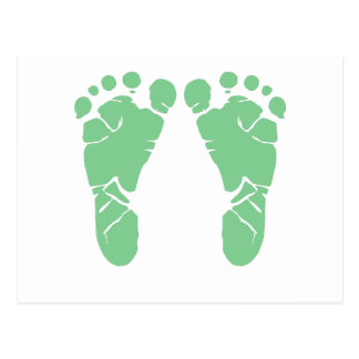 Green baby footprints postcard