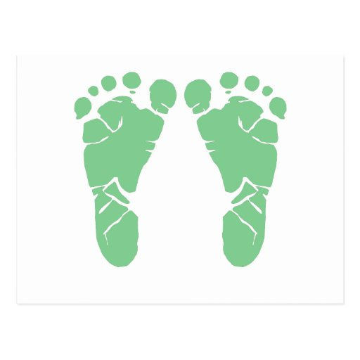 Green baby footprints post card