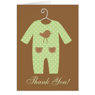 Green Baby Outfit Baby Shower Greeting Card