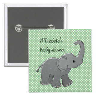 green baby shower elephant 15 cm square badge