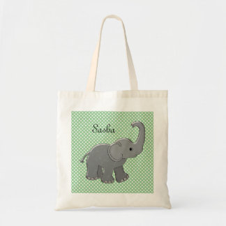 green baby shower elephant tote bags