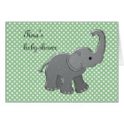 green baby shower elephant card