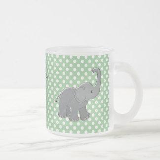 green baby shower elephant coffee mugs