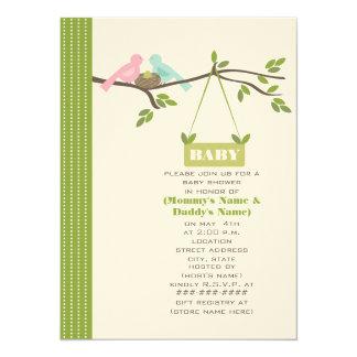 Green Baby Shower Mommy & Daddy Birds & Nest 14 Cm X 19 Cm Invitation Card