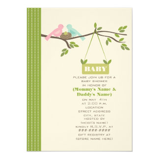 Green Baby Shower Mommy & Daddy Birds & Nest Personalized Invites