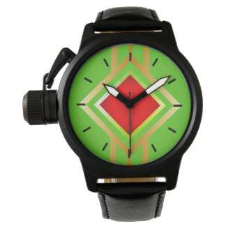 Green Background Red Gold Diamond Watch