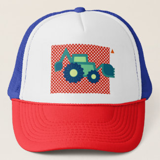 Green backhoe, cute, minimalist, flat design trucker hat