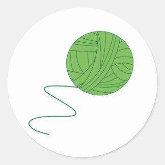 Green Ball of Yarn Round Sticker