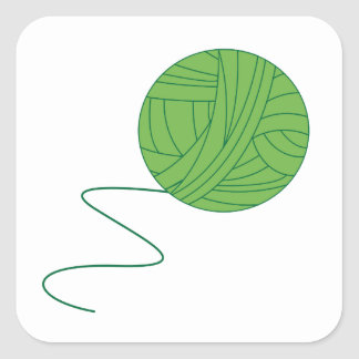 Green Ball of Yarn Square Stickers