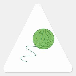 Green Ball of Yarn Triangle Sticker